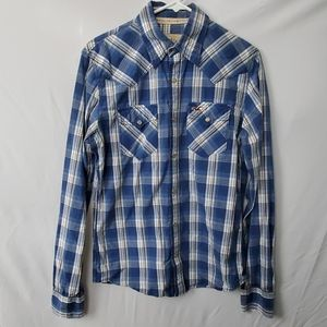 Hollister pearl snap plaid button up shirt small